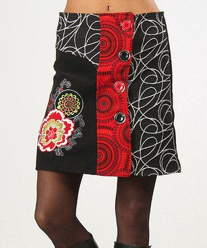 Look what I found on #zulily! Black & Red Leslie Wool-Blend Skirt by Charlotte & compagnie #zulilyfinds