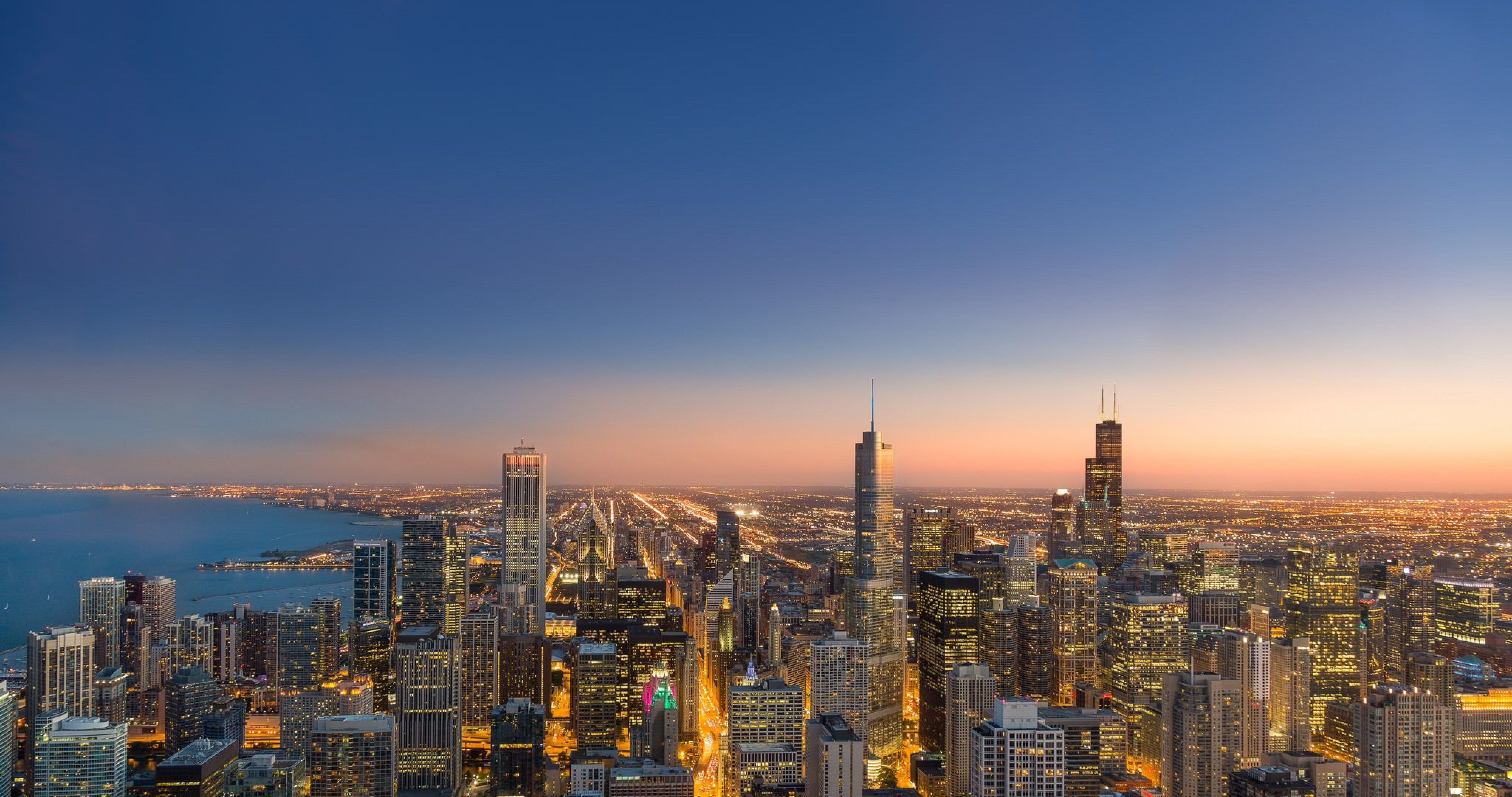 chicago evening city wallpaper 4k ultra hd wallpaper