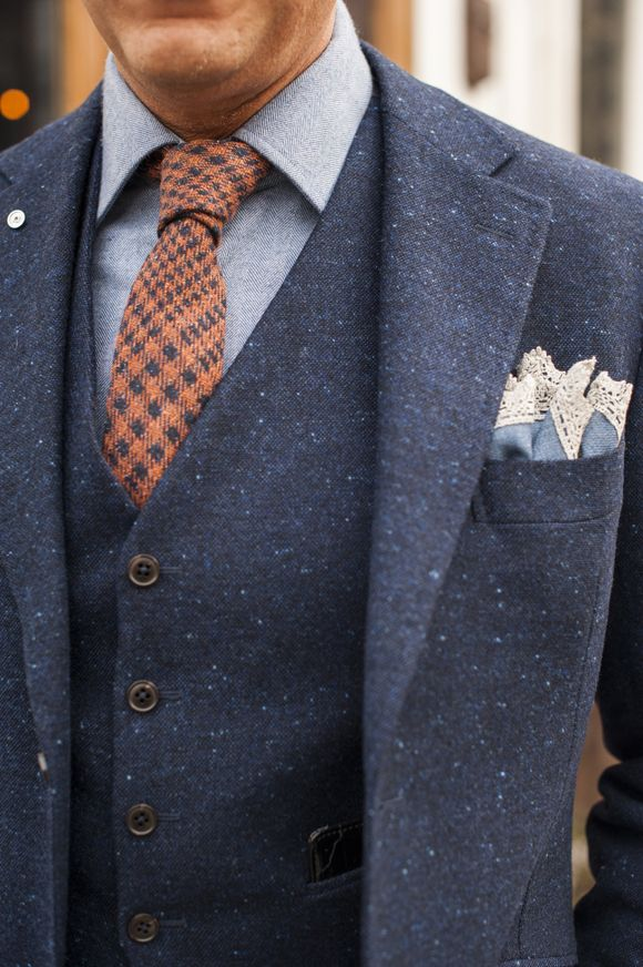 Loving this blue tweed and use of vintage lace as pocket square