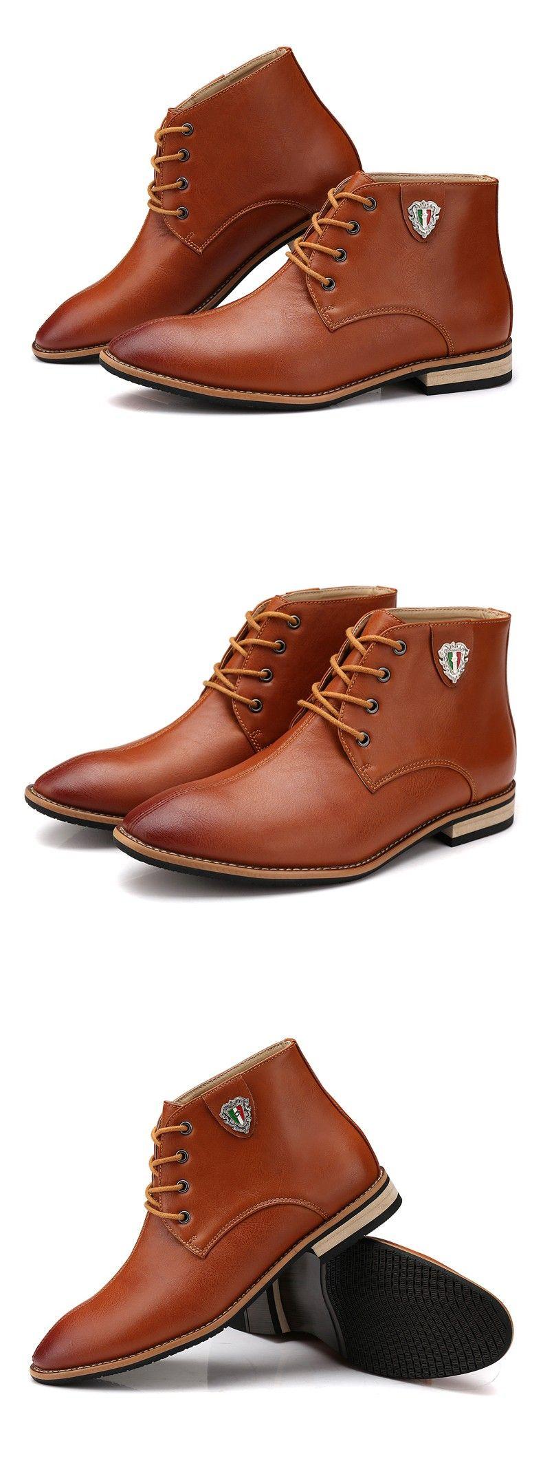 a119d28c4b Botas de cuero negro para Hombre zapatos de vestir marrones casuales botines  nuevo diseño moda otoño