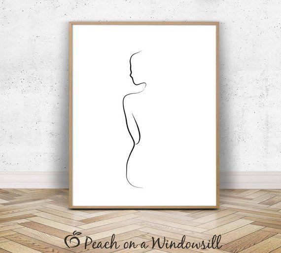 Frau Body Print | Naked Girl Drawing | Weibliche Form Kunst | Künstlerische Nacktfrau Poster | Fine Line Zeichnung | Schwarz-Weiß Skizze | druckfähig