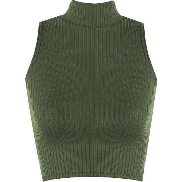 1956999e37cea3 WearAll Women's Ribbed Knitted Sleeveless Short Turtle Neck Vest Crop...  ($2.04) ❤ liked on Polyvore featuring tops, green vest, crop vest, sleeveless  crop ...