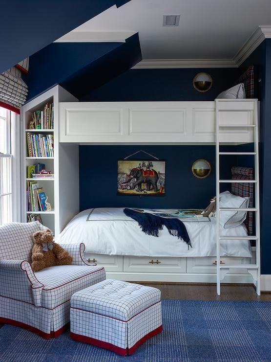 Navy Blue Boy Bedroom Built In Bunk Beds Plaid Headboard Dormitory Idea Apartment Design