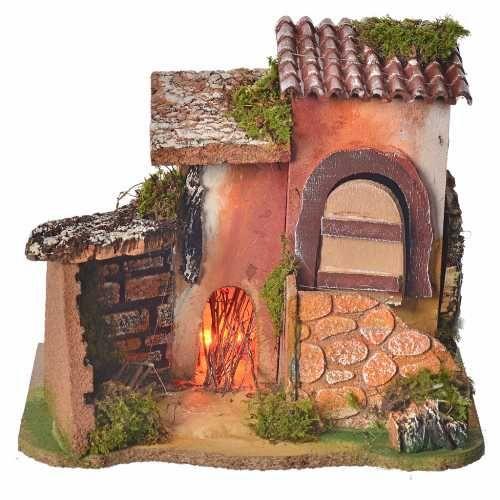 Casetta con fuoco presepe 17x20x15 cm | Casette, Fuoco e Temi natalizi
