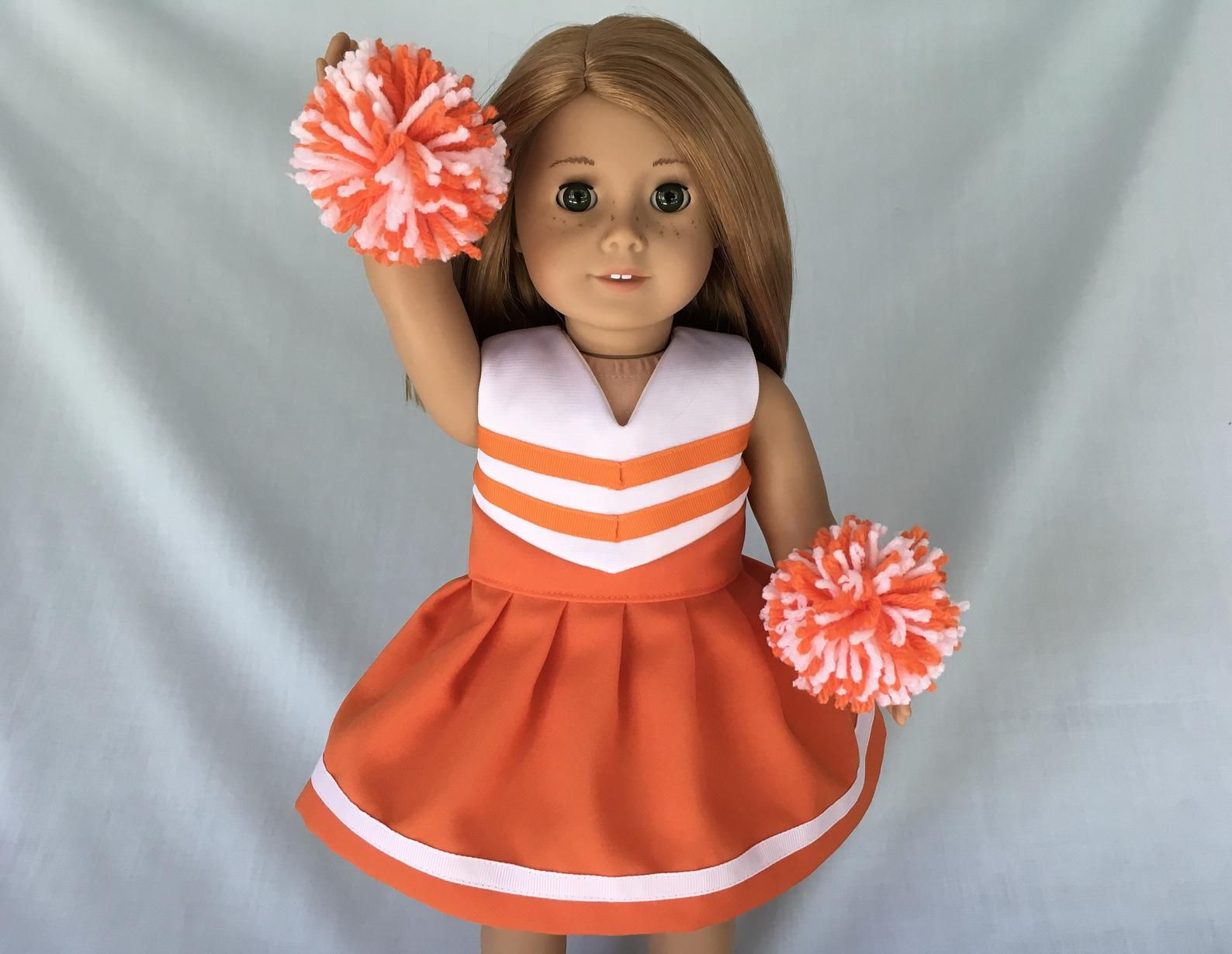 Orange and White Cheerleader/Cheer Dress for American Girl/18 Inch Doll