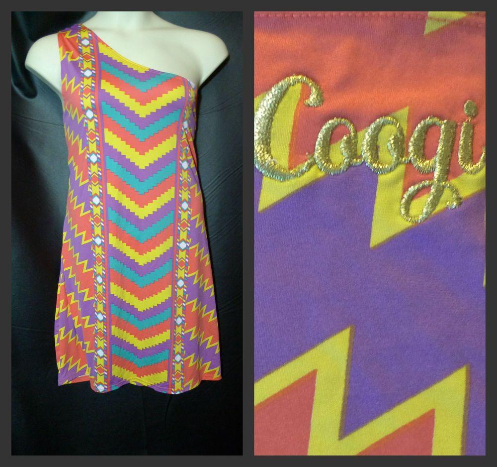 Coogi Dress Size 3x One Shoulder Mini Orange Purple Teal ...
