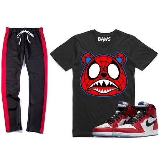 dddf94cfa714 Baws   Sneaker Quick Strike Sneaker Outfits Jordan 1s Spider Man Sneaker  Outfit - SPIDER BAWS - Shirt   Track Pants