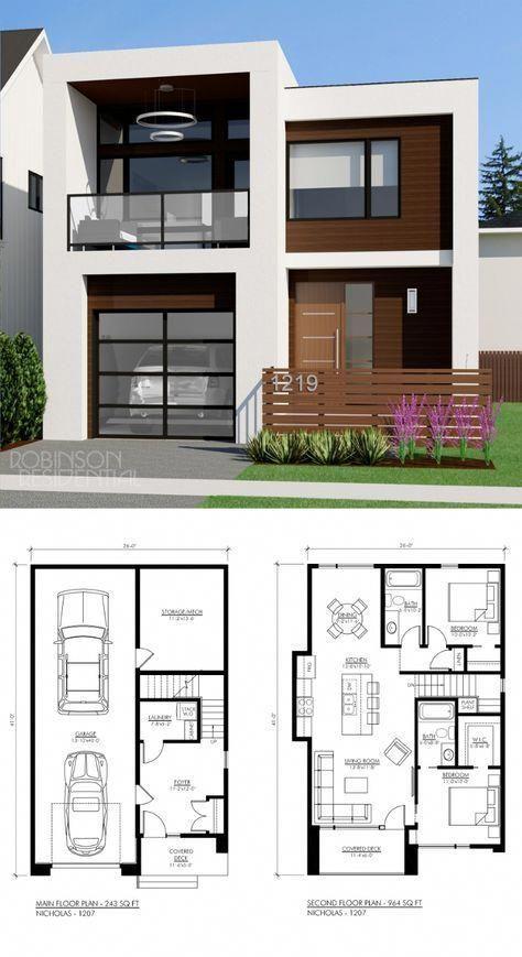 Bonitas Planos De Casas Modernas De 2 Pisos Gratis Con Medidas