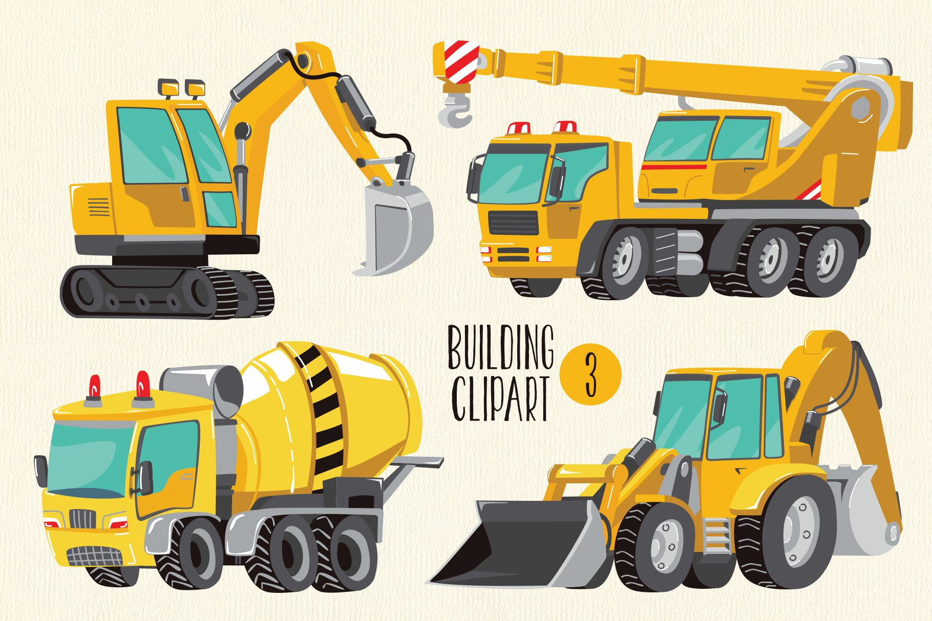 Building Clipart Png Tractor Clipart Excavator Clipart Etsy Tractor Clipart Tractors Concrete Mixers