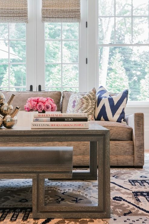 Bon Jill Litner Kaplan Interiors   Living Rooms   Ikat Rug, Brown And Ivory  Ikat Rug, Cerused Oak Coffee Table, Gray Cerused Oak Coffee Table, M.