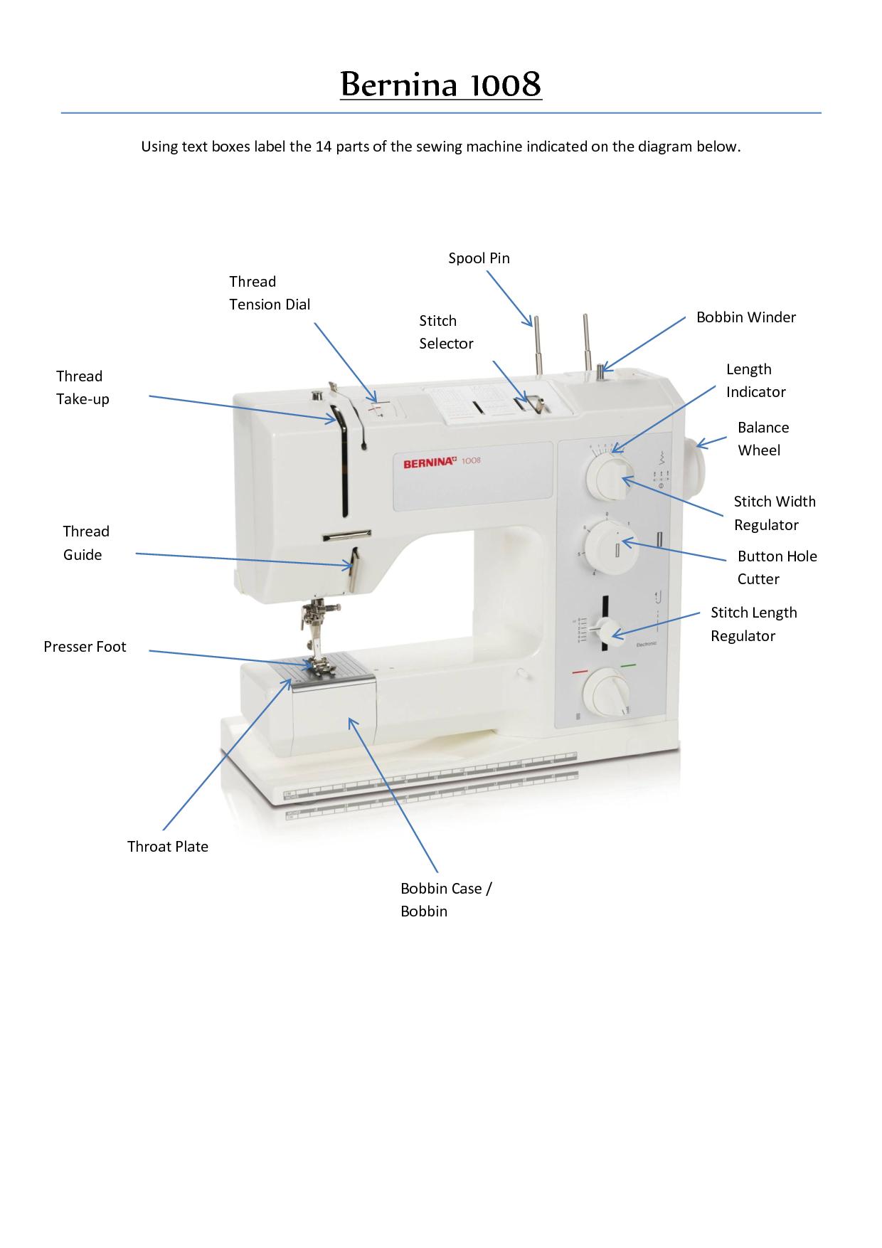 Sewing Machine Parts Diagram Worksheet Wiring For Warn 2500 Winch Bernina 1008 Costume Shop Pinterest