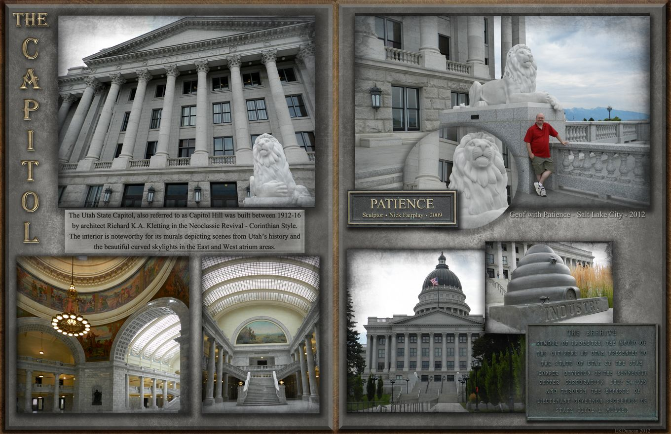 Utah State Capitol in Salt Lake City - digital scrapbook page by EKDuncan at http://www.ekduncan.com/2012/08/digital-scrapbook-pages-salt-lake-city.html#