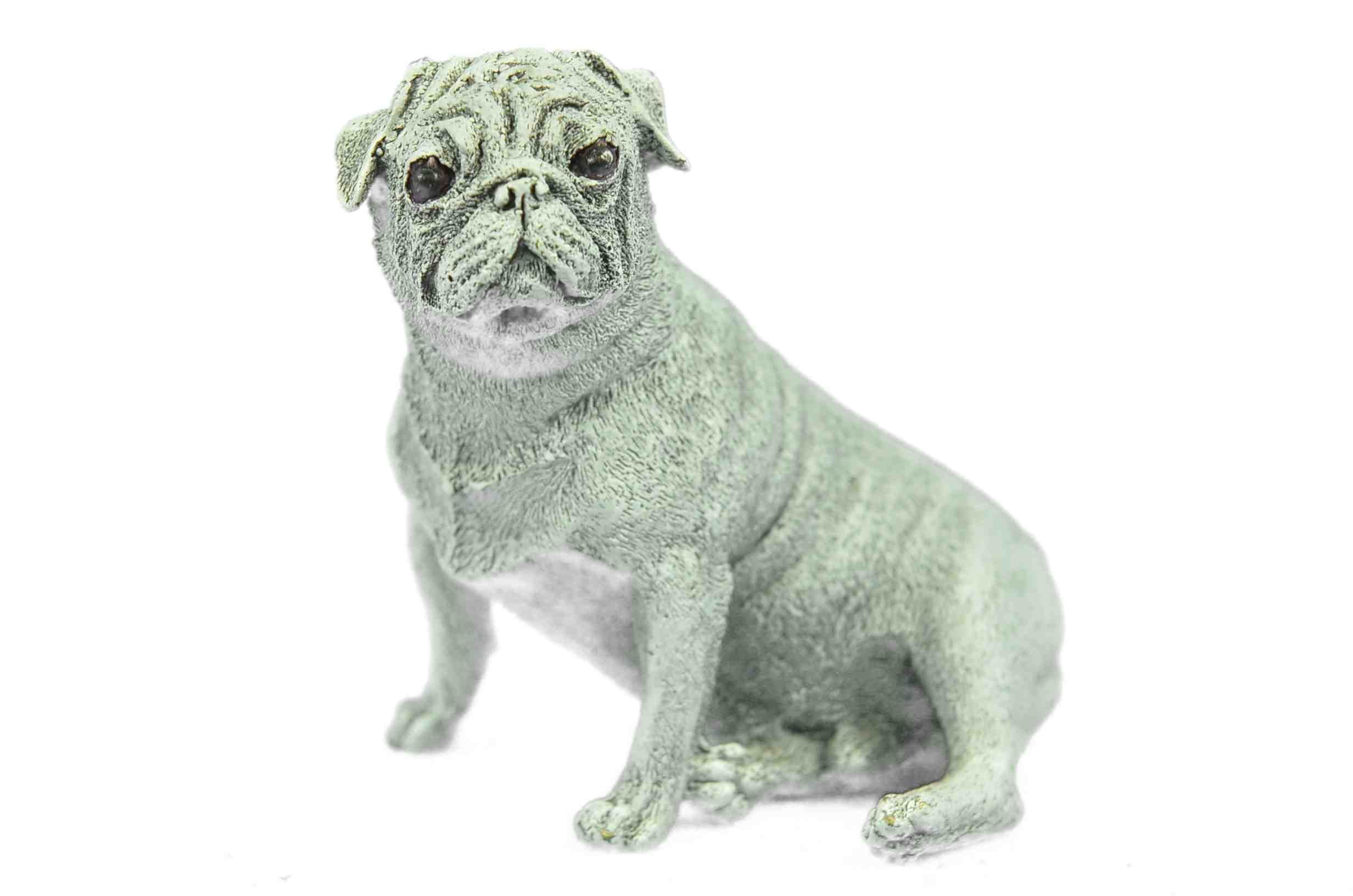 "PUG Puppy Dog Hot Cast Bronze Signed Figurine 3.5"" x 4.5"" (White Patina)"