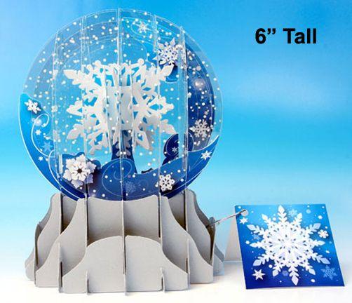 Large Single Pop Up Snow Globe Card Snowfall Snow Globes Christmas Greetings Christmas Greeting Cards