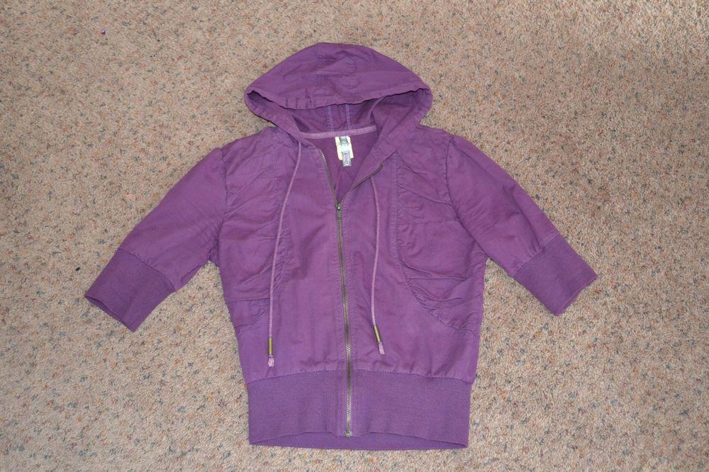 Purple cropped jacket with hood 3/4 sleeces A'gaci Small EUC #Agaci #BasicJacket