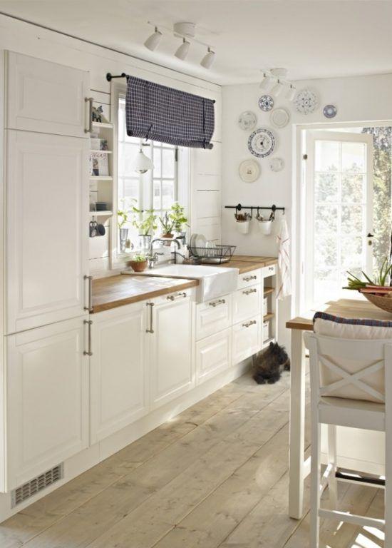 Kleine Küchen vergrößern | Landhausküche weiß, Landhausküchen und ... | {Schwedische landhausküche 29}