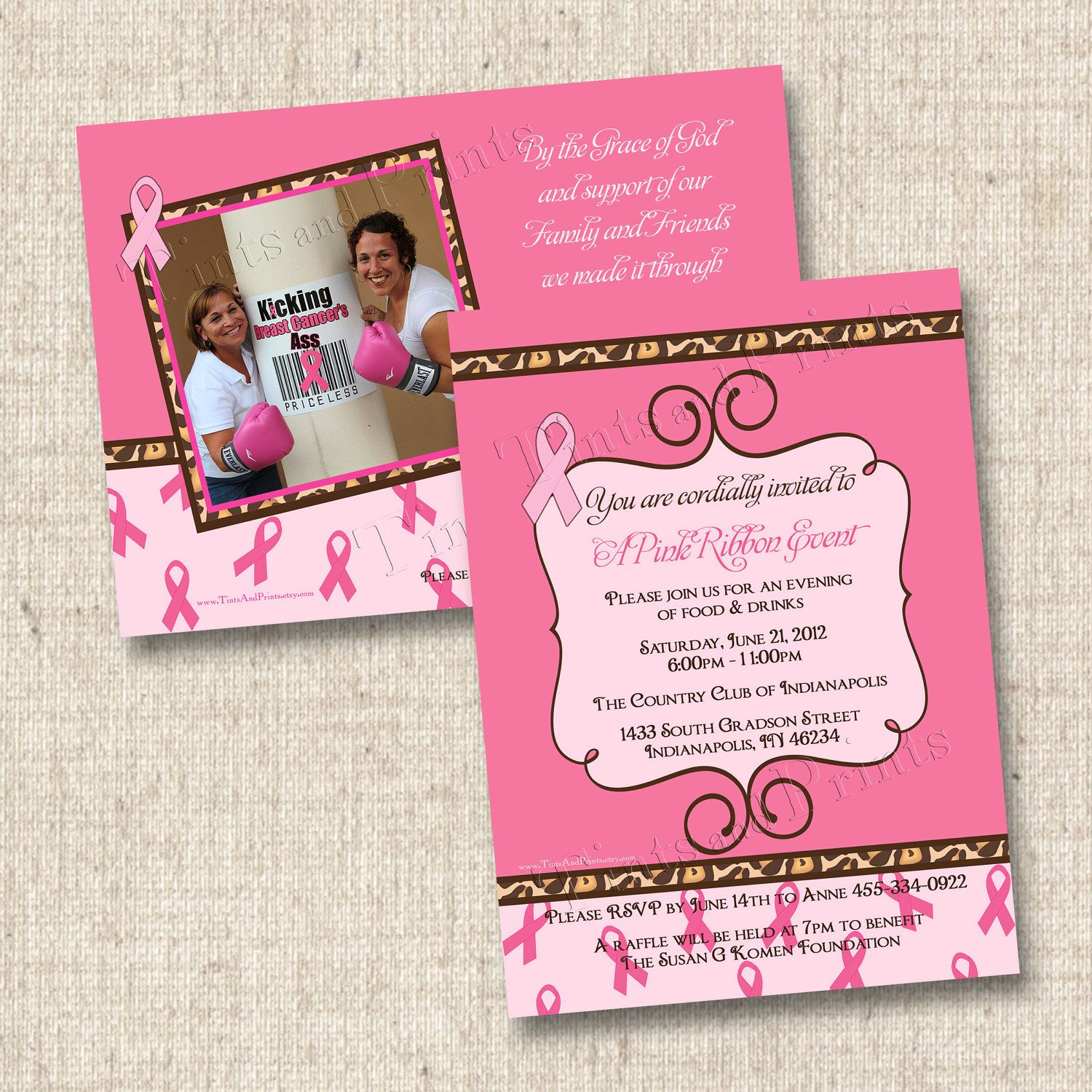 Sassy Breast Cancer Benefit Custom Party Invitation Design- with ...