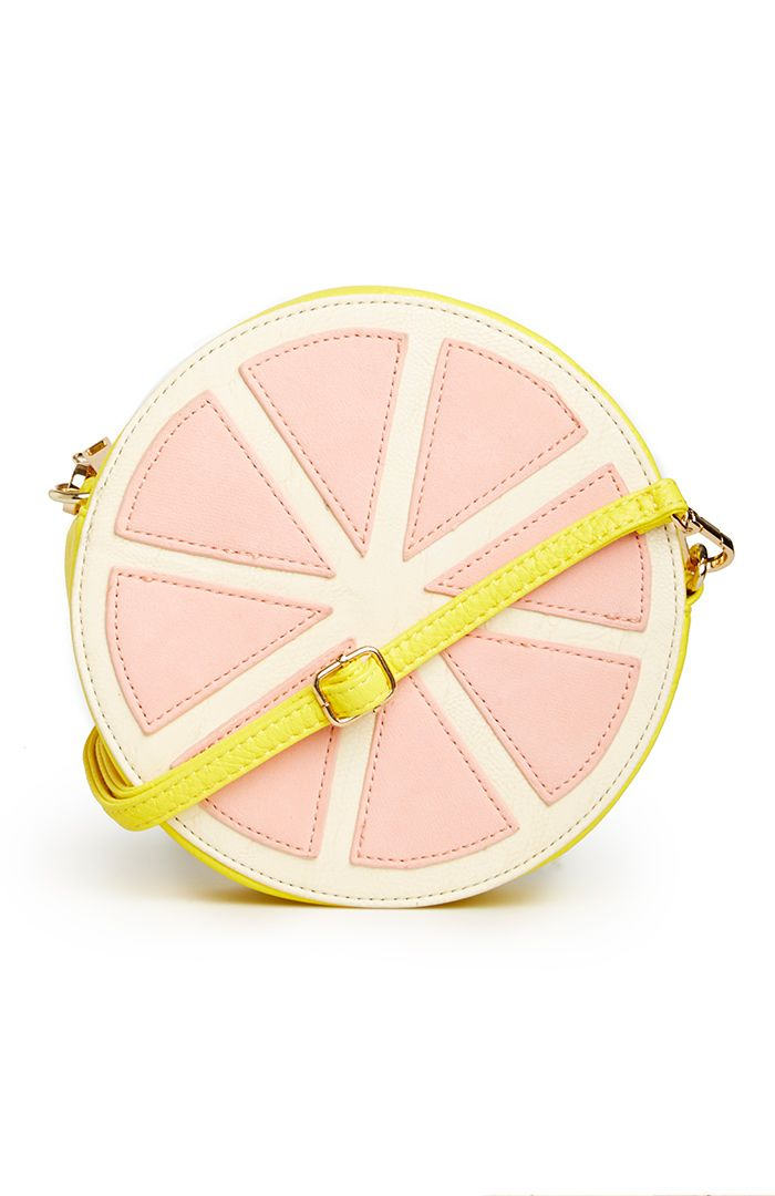 Grapefruit Cross Body Purse. So I can't imagine how to style this, but its so quirky and fun!