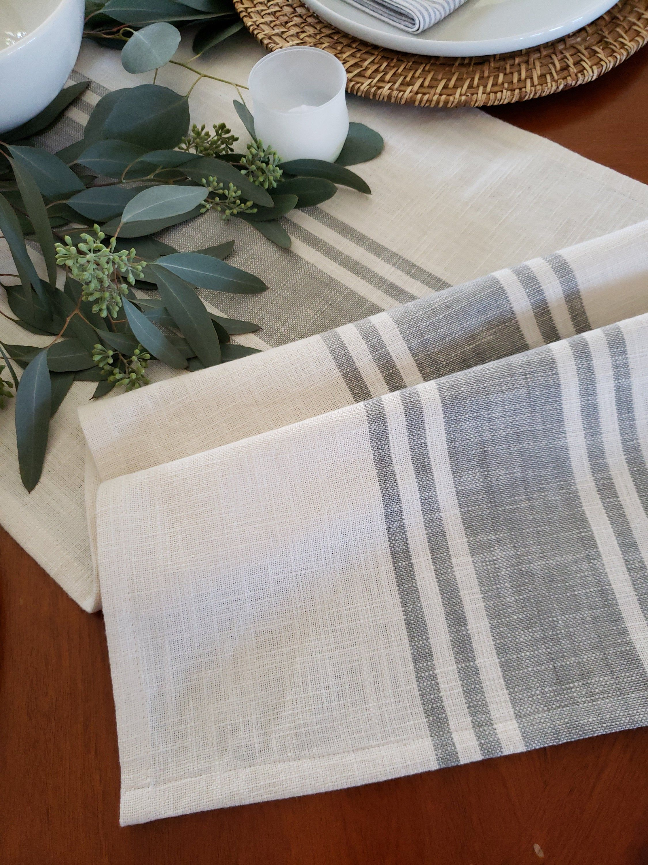 Farmhouse Table Runner with Black Stripes French Country Table Runner Mothers Day Gift Grainsack Table Runner Rustic Burlap Table Runner
