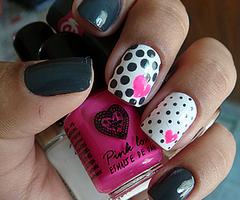 Love pink heart - Nails