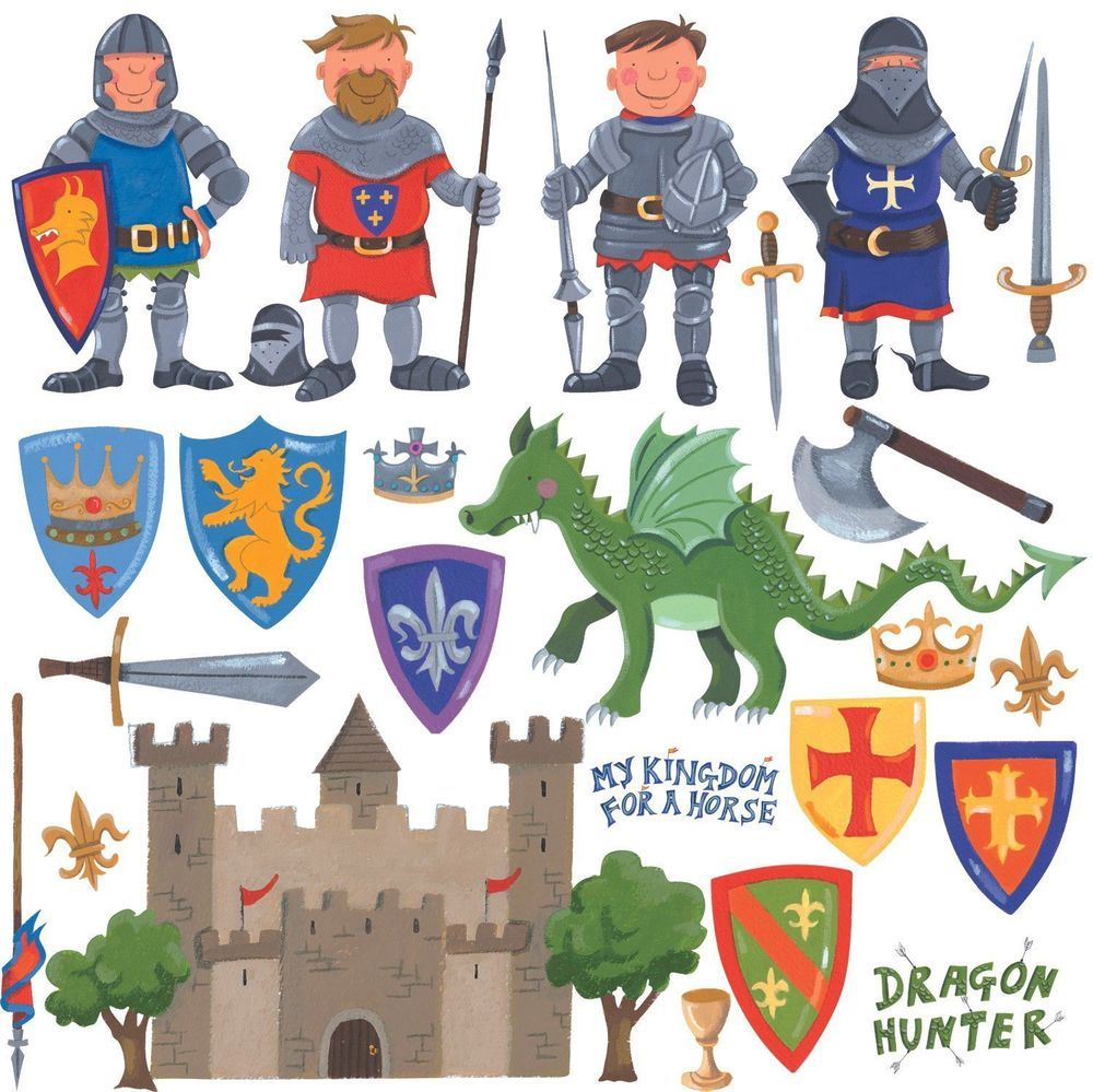 Superior RoomMates Repositionable Childrens Wall Stickers   Knights And Dragon Amazing Ideas