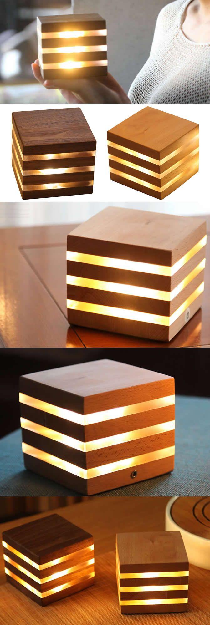 Bamboo Wooden Cube Led Night Light Lamp Desk Art Deco Style Bamboo Wood Cube Led Lamp Night Light Made From Cube Table Lamp Wooden Cubes Wooden Lamps Design