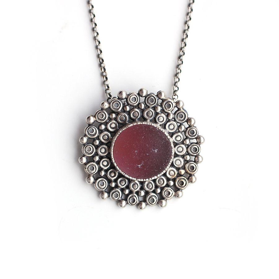 Purple Sea Glass Mandala Necklace by Tania Covo