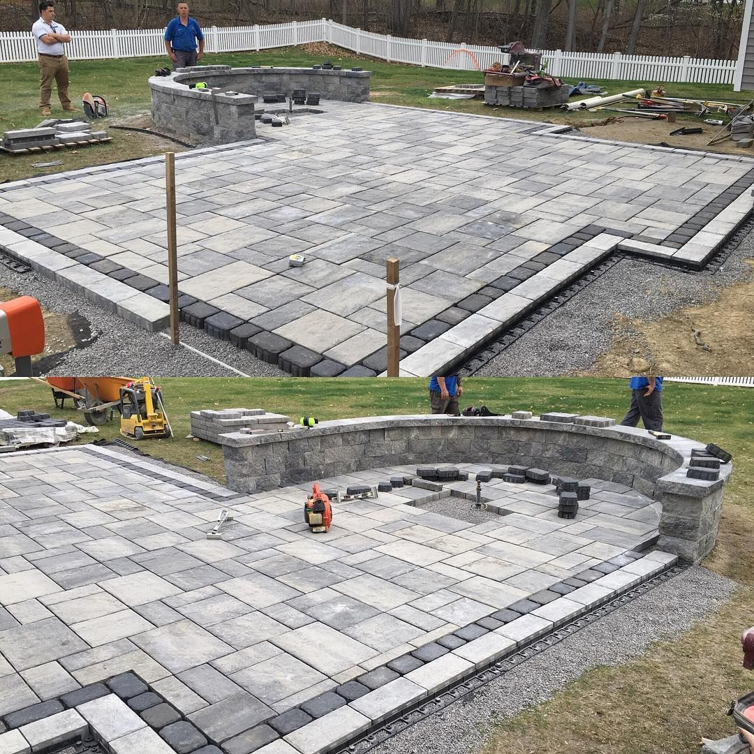 """Photo of Jay Goggin on Instagram: """"Sweet Blu60 patio and fire pit by Jaime and the guys  @faddegonsnursery  #techobloc #blu60"""""""