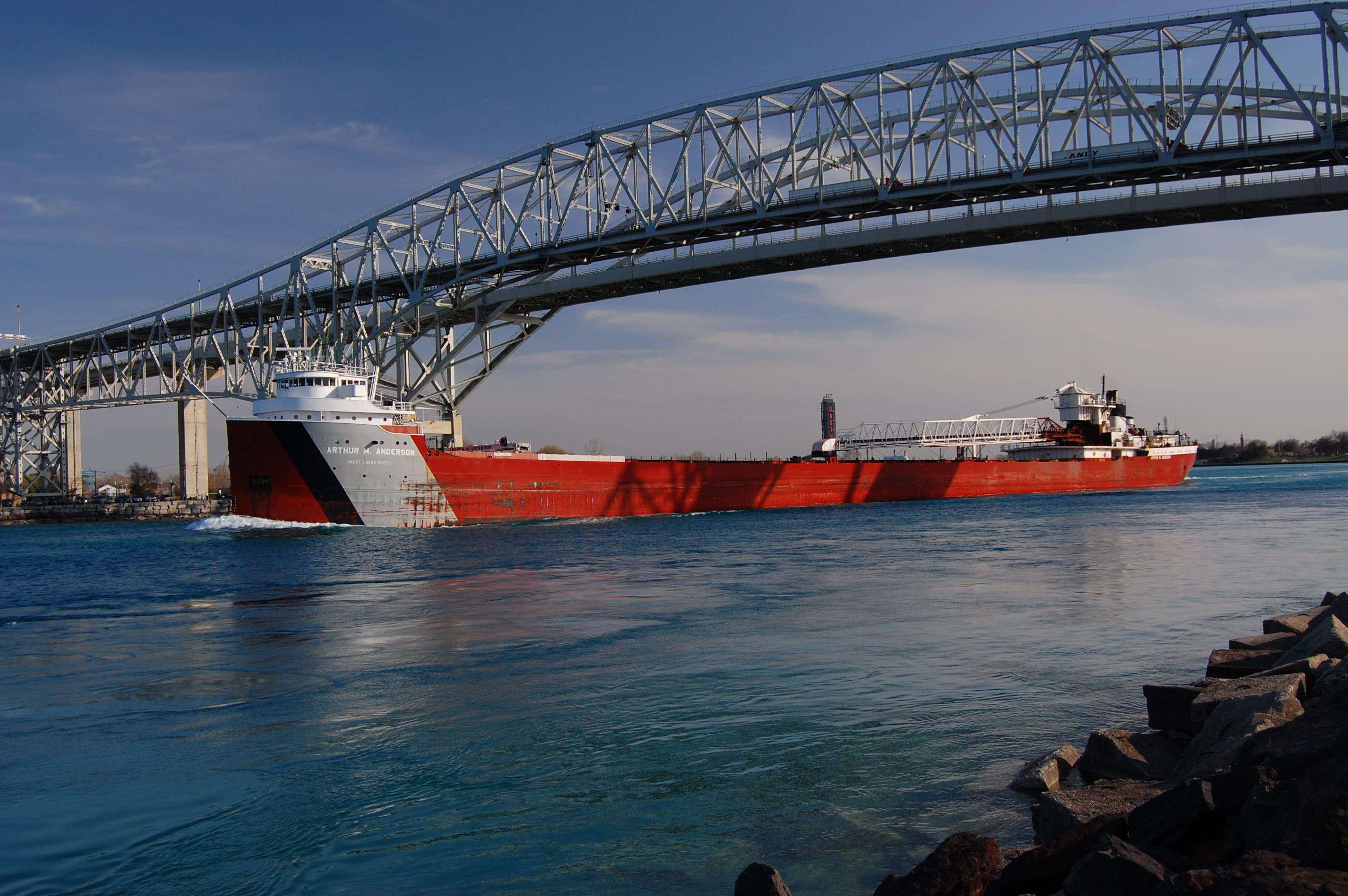 Great Lakes Freighter Beneath Blue Water Bridge Port