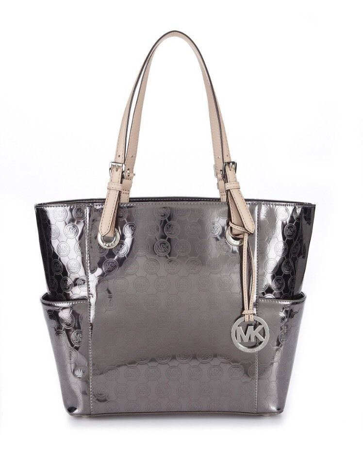 Michael Kors Jet Set Monogram Metallic EW Signature Tote Nickel Mirror # MichaelKors #TotesShoppers