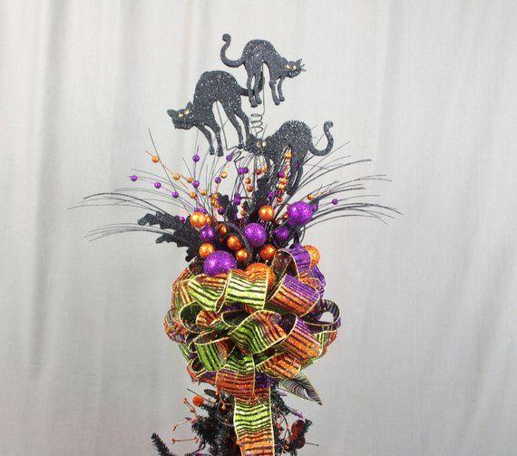 Halloween Tree Topper, Black Cat Tree Topper, Orange and Purple Tree