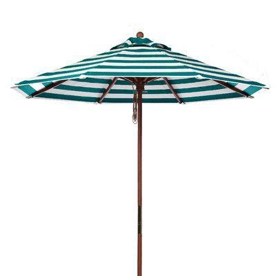 Frankford Umbrellas 9 ft. Octagonal Commercial Grade Striped Wooden Market Umbrella Fabric: