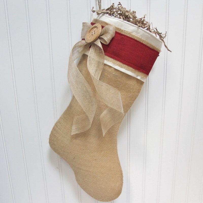 Burlap Christmas Stockings Part - 25: Burlap Christmas Stocking. $30.00, Via Etsy. This Is So Me. Love It