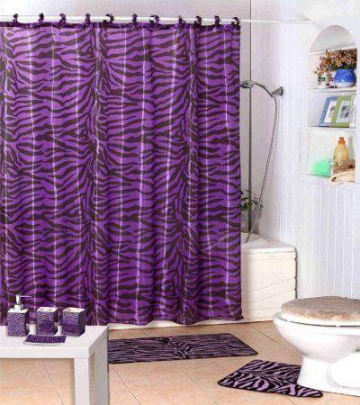 Dreamkingdom Purpleblack Zebra Design Shower Curtain With Decorative Roller Ringshooks Continu Purple Bathrooms Purple Bathroom Decor Purple Shower Curtain