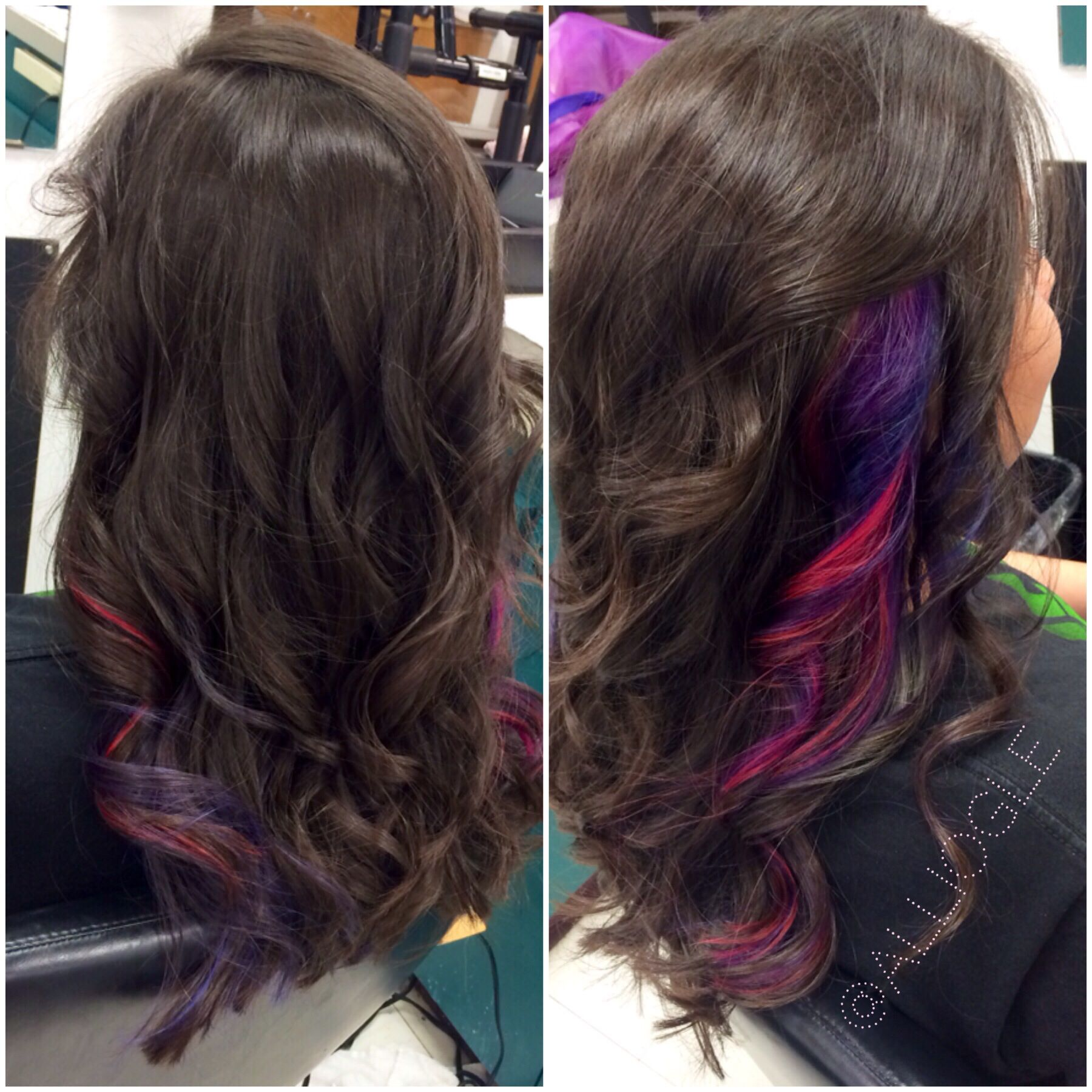 Hair Pink blue violet purple peekaboos H A I R Z ✂