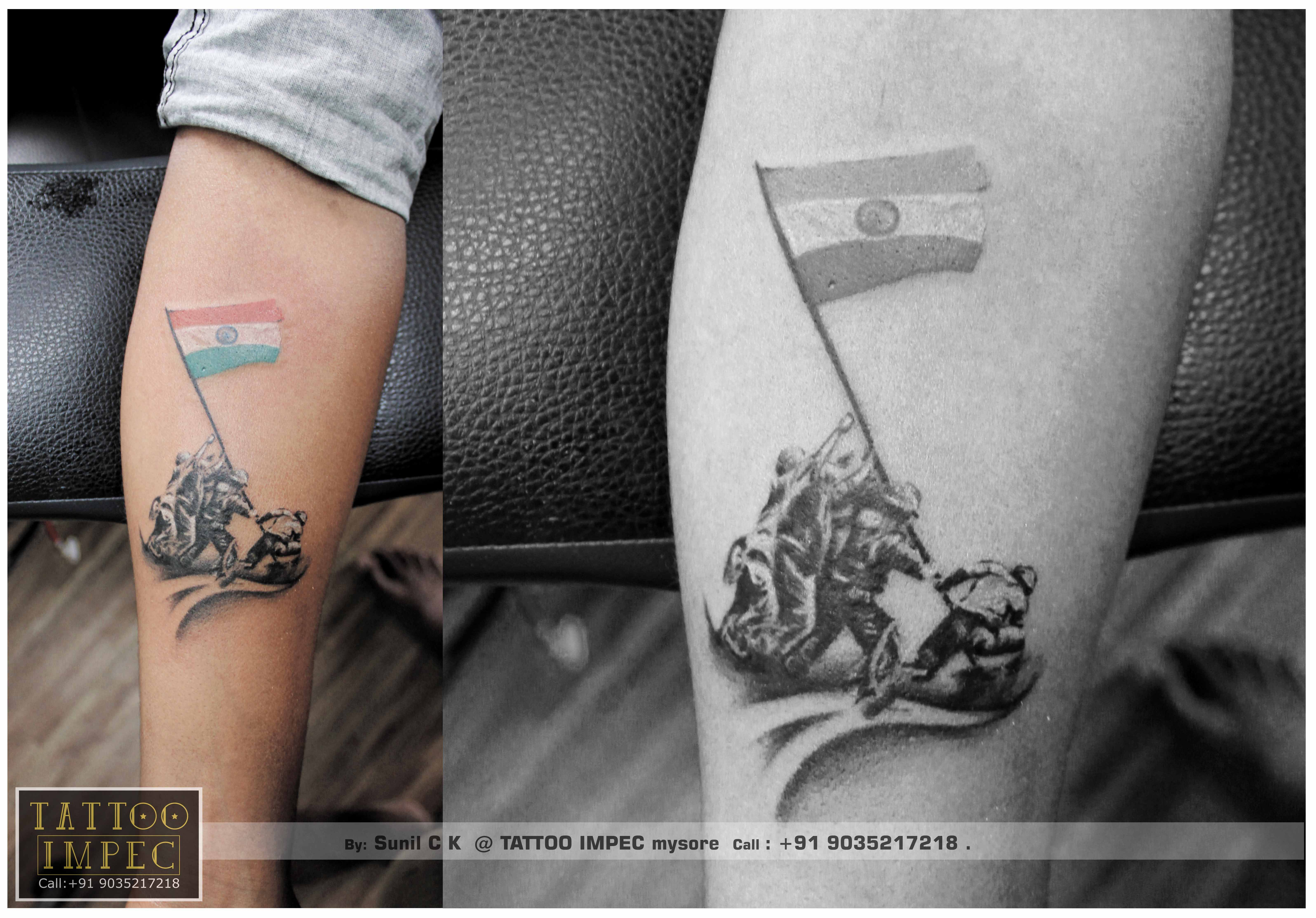 f7c41ff2c <3 #Indian army holding Indian national flag #tattoo #Indian army  soldiers