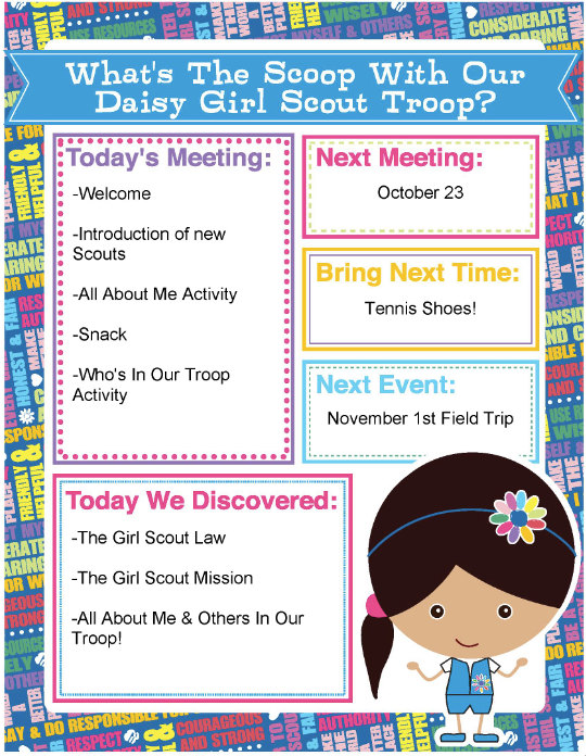 sample girl scout meeting agenda Troop 5148 parent letter for 2012-2013 girl scout : if a scout is disruptive during meeting times, the scout's parents will be called and asked to pick up the.
