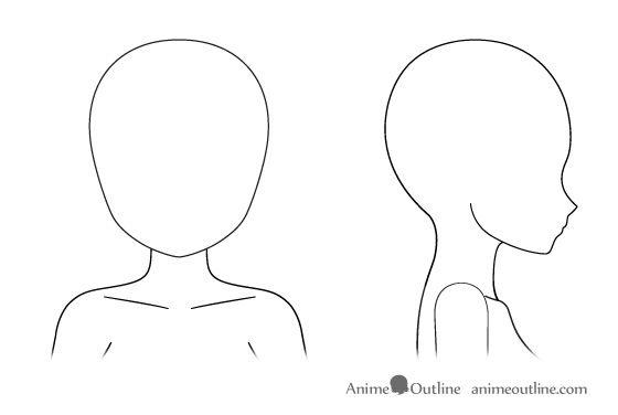 Female Head Outline Drawings Anime Drawings Drawings