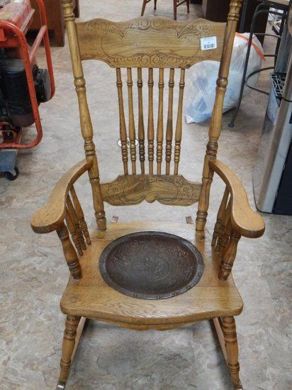 Superb Antique Oak Pressed Back Rocking Chair Leather Seat Cjindustries Chair Design For Home Cjindustriesco