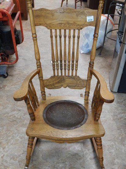 Antique Oak Pressed back rocking chair Leather seat | Auctions Online |  Proxibid - Antique Oak Pressed Back Rocking Chair Leather Seat Auctions