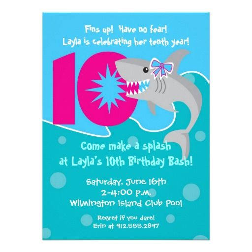 Girl Shark Bite Invite 10th Birthday Party