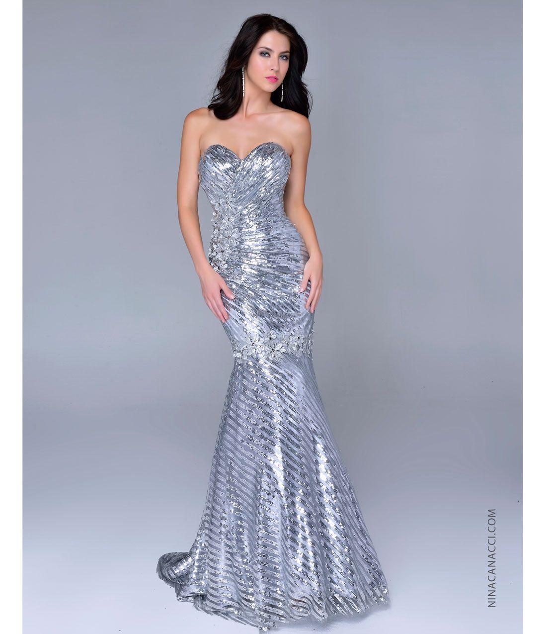 Nina Canacci 2014 Prom Dresses - Silver Sequin & Satin Strapless ...