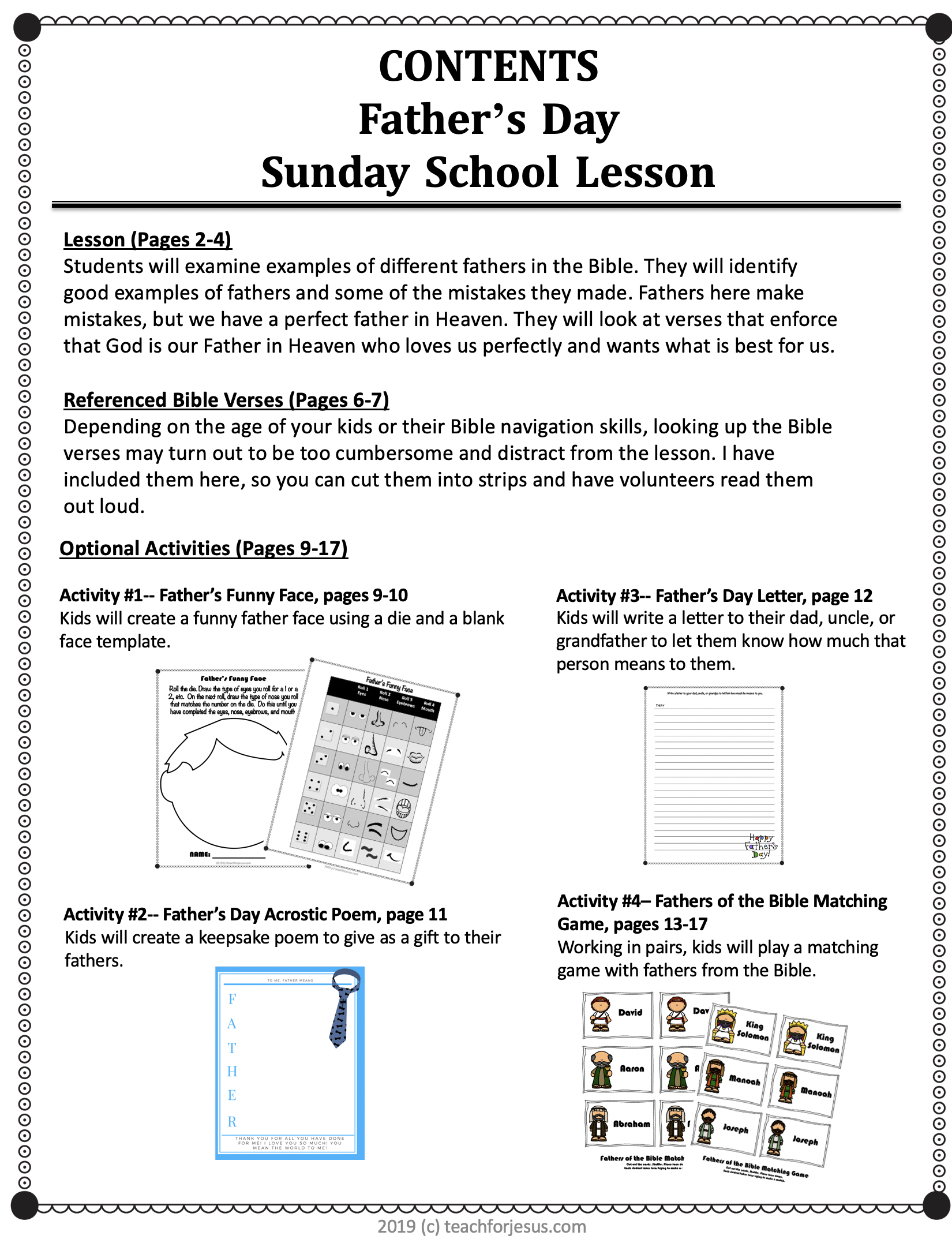 Father S Day Sunday School Lesson In 2020 School Lessons Sunday School Preschool Sunday School