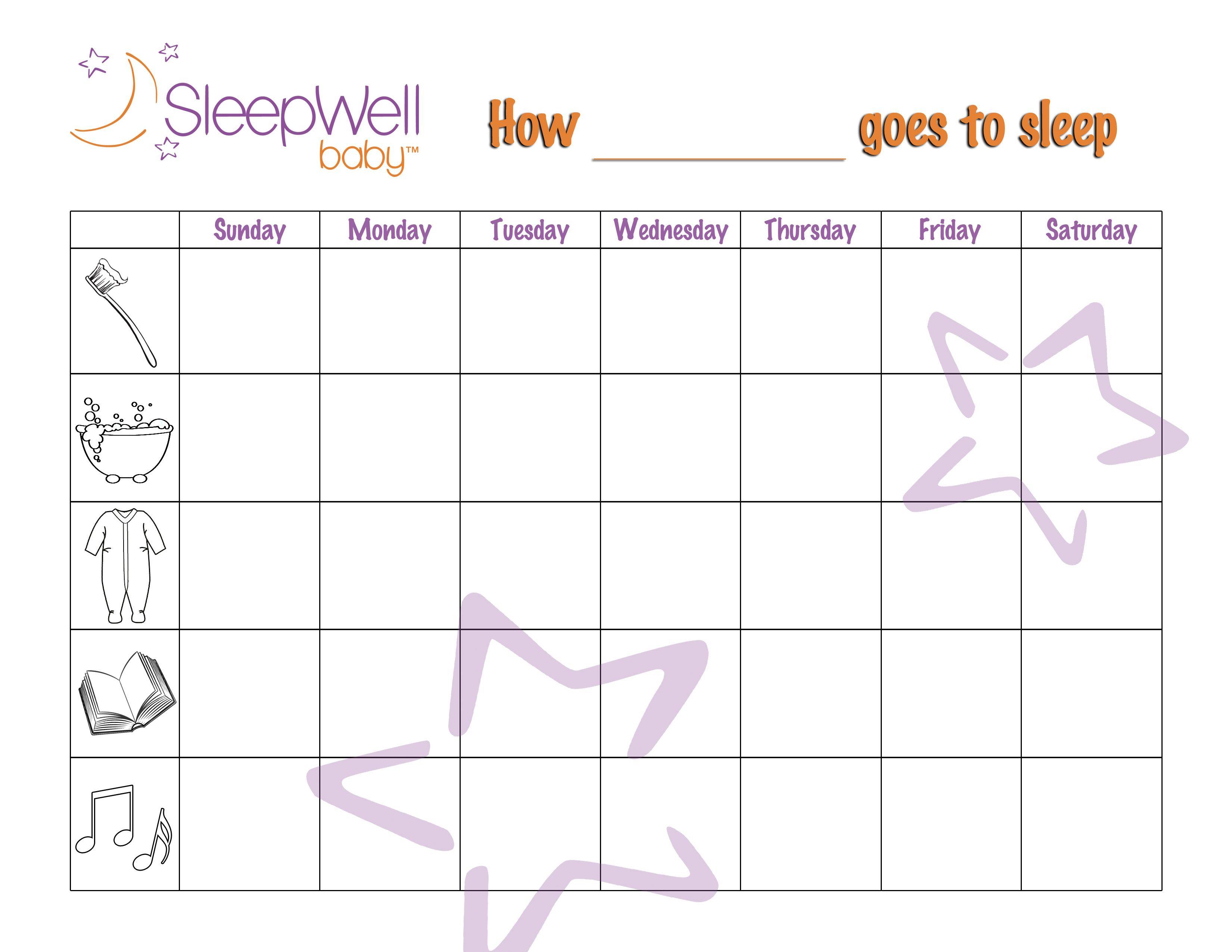 Toddler Bedtime Sticker Chart Printables