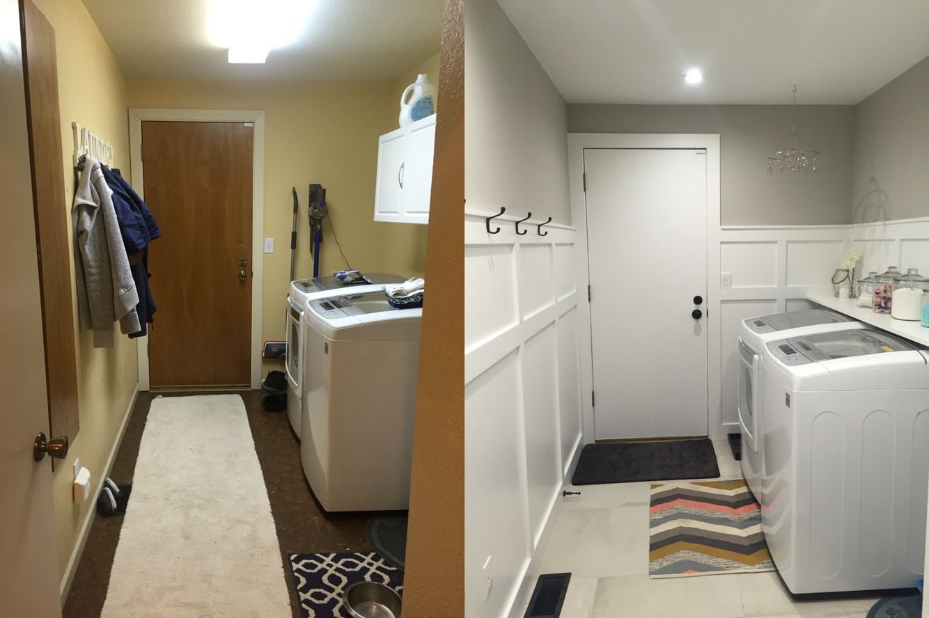 Before And After Of Our Mudroom Laundry Entryway Ish Room Board