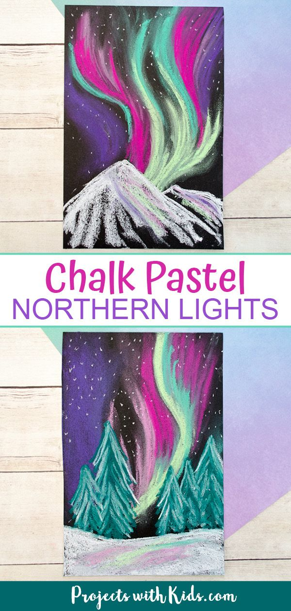 Learn about layering and blending pastels with this gorgeous northern lights chalk pastel art project! A beautiful winter art project kids will love creating. #projectswithkids #chalkpastelart #northernlights #kidsart