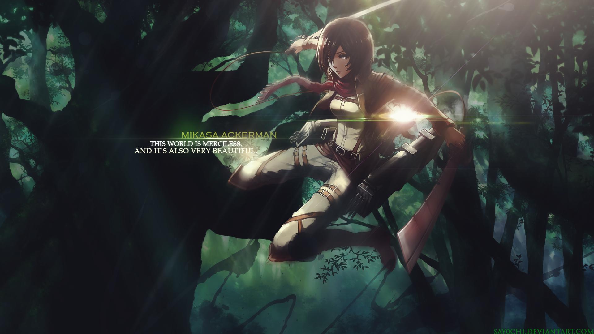 Mikasa Ackerman Wallpaper 1920x1080 Hd By Say0chi On Deviantart Attack On Titan Season Attack On Titan Attack On Titan Season 2