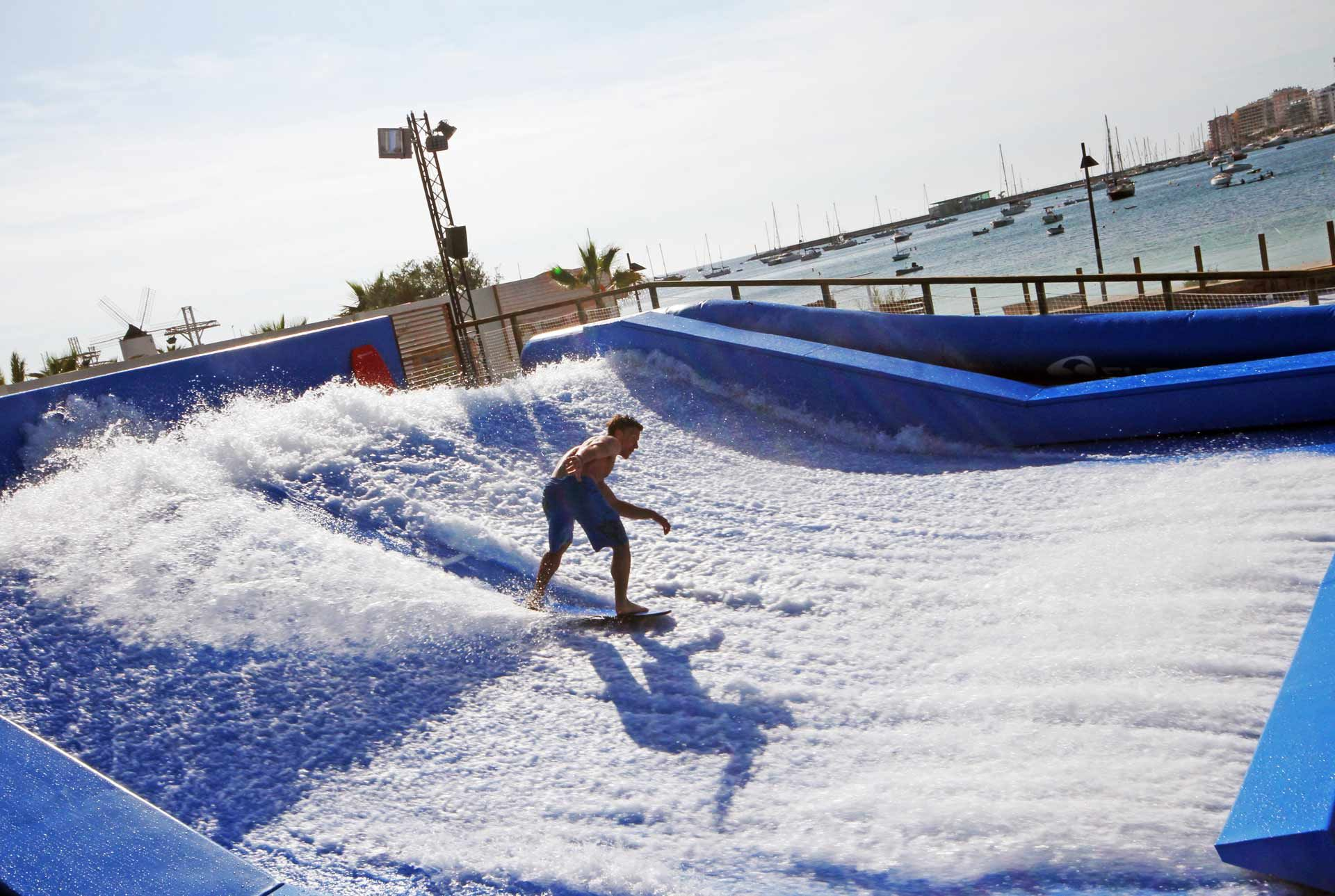 Located In San Antonio Bay Next To Ocean Beach Club You Will Find Ibiza S Only Artificial Wave Machine The Flowrider Can Be Enjoyed By All Surfing Levels With