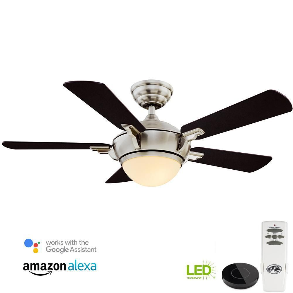 Hampton Bay Midili 44 In Indoor Led Brushed Nickel Dry Rated Ceiling Fan With Light Kit Works With Google Assistant And Alexa 20009 The Home Depot Brushed Nickel Ceiling Fan Ceiling
