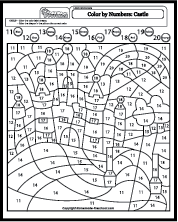 Color By Number Castle Coloring Pages Fall Coloring Pages Color By Numbers